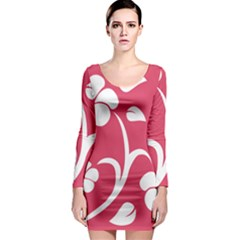 Pink Hawaiian Flower White Long Sleeve Bodycon Dress