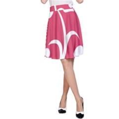 Pink Hawaiian Flower White A-Line Skirt