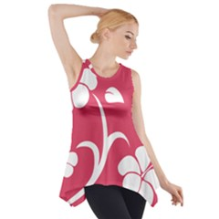 Pink Hawaiian Flower White Side Drop Tank Tunic