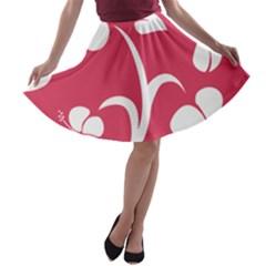 Pink Hawaiian Flower White A-line Skater Skirt
