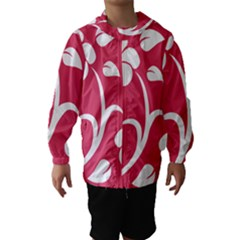 Pink Hawaiian Flower White Hooded Wind Breaker (Kids)