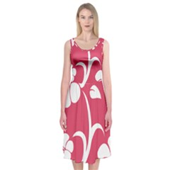 Pink Hawaiian Flower White Midi Sleeveless Dress