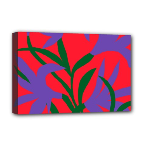 Purple Flower Red Background Deluxe Canvas 18  x 12