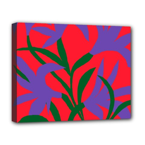 Purple Flower Red Background Deluxe Canvas 20  x 16