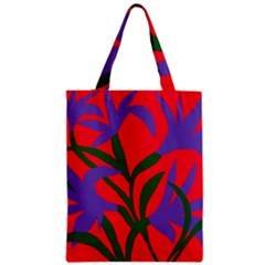Purple Flower Red Background Classic Tote Bag