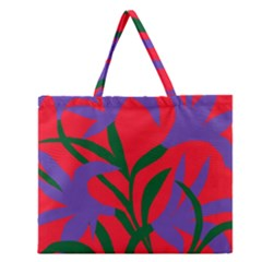 Purple Flower Red Background Zipper Large Tote Bag