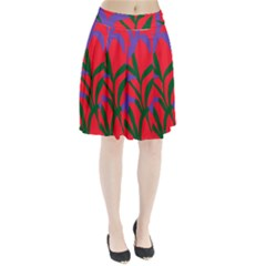 Purple Flower Red Background Pleated Skirt