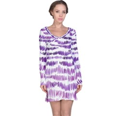 Original Feather Opaque Color Purple Long Sleeve Nightdress