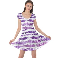 Original Feather Opaque Color Purple Cap Sleeve Dresses