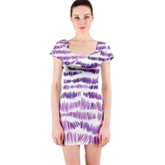 Original Feather Opaque Color Purple Short Sleeve Bodycon Dress