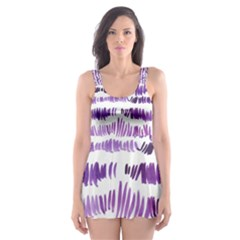 Original Feather Opaque Color Purple Skater Dress Swimsuit