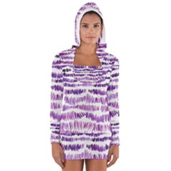 Original Feather Opaque Color Purple Women s Long Sleeve Hooded T-shirt