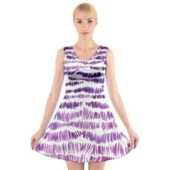 Original Feather Opaque Color Purple V Neck Sleeveless Skater Dress