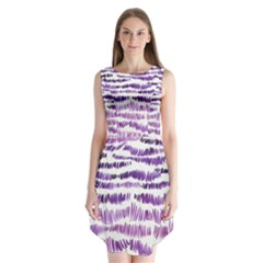 Original Feather Opaque Color Purple Sleeveless Chiffon Dress