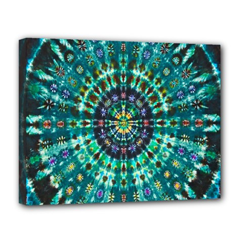 Peacock Throne Flower Green Tie Dye Kaleidoscope Opaque Color Canvas 14  x 11