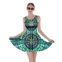 Peacock Throne Flower Green Tie Dye Kaleidoscope Opaque Color Skater Dress