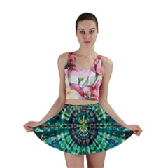 Peacock Throne Flower Green Tie Dye Kaleidoscope Opaque Color Mini Skirt