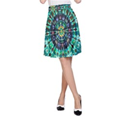 Peacock Throne Flower Green Tie Dye Kaleidoscope Opaque Color A-Line Skirt