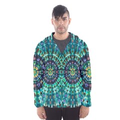 Peacock Throne Flower Green Tie Dye Kaleidoscope Opaque Color Hooded Wind Breaker (Men)