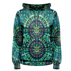 Peacock Throne Flower Green Tie Dye Kaleidoscope Opaque Color Women s Pullover Hoodie