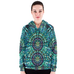 Peacock Throne Flower Green Tie Dye Kaleidoscope Opaque Color Women s Zipper Hoodie