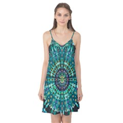 Peacock Throne Flower Green Tie Dye Kaleidoscope Opaque Color Camis Nightgown