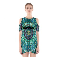 Peacock Throne Flower Green Tie Dye Kaleidoscope Opaque Color Shoulder Cutout One Piece