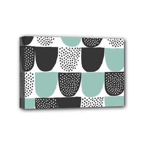 Sugar Blue Fabric Polka Dots Circle Mini Canvas 6  x 4