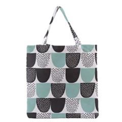 Sugar Blue Fabric Polka Dots Circle Grocery Tote Bag
