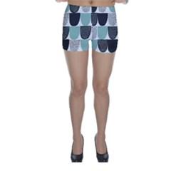 Sugar Blue Fabric Polka Dots Circle Skinny Shorts