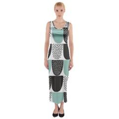 Sugar Blue Fabric Polka Dots Circle Fitted Maxi Dress