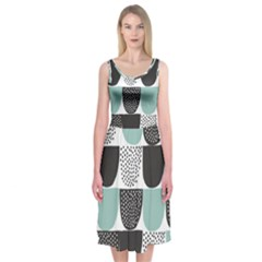 Sugar Blue Fabric Polka Dots Circle Midi Sleeveless Dress