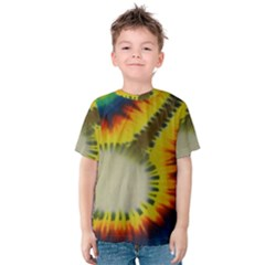 Red Blue Yellow Green Medium Rainbow Tie Dye Kaleidoscope Opaque Color Kids  Cotton Tee