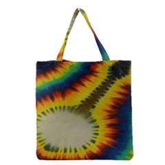 Red Blue Yellow Green Medium Rainbow Tie Dye Kaleidoscope Opaque Color Grocery Tote Bag