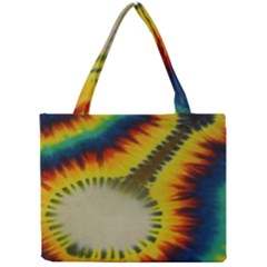 Red Blue Yellow Green Medium Rainbow Tie Dye Kaleidoscope Opaque Color Mini Tote Bag