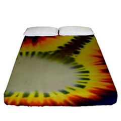 Red Blue Yellow Green Medium Rainbow Tie Dye Kaleidoscope Opaque Color Fitted Sheet (Queen Size)
