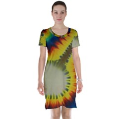 Red Blue Yellow Green Medium Rainbow Tie Dye Kaleidoscope Opaque Color Short Sleeve Nightdress