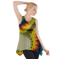 Red Blue Yellow Green Medium Rainbow Tie Dye Kaleidoscope Opaque Color Side Drop Tank Tunic