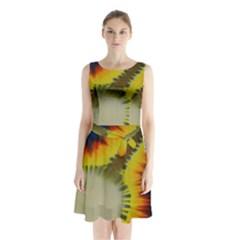 Red Blue Yellow Green Medium Rainbow Tie Dye Kaleidoscope Opaque Color Sleeveless Waist Tie Chiffon Dress