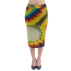 Red Blue Yellow Green Medium Rainbow Tie Dye Kaleidoscope Opaque Color Midi Pencil Skirt