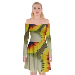 Red Blue Yellow Green Medium Rainbow Tie Dye Kaleidoscope Opaque Color Off Shoulder Skater Dress