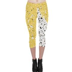 Spot Polka Dots Orange Black Capri Leggings