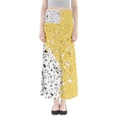 Spot Polka Dots Orange Black Full Length Maxi Skirt