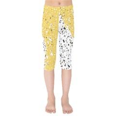 Spot Polka Dots Orange Black Kids  Capri Leggings