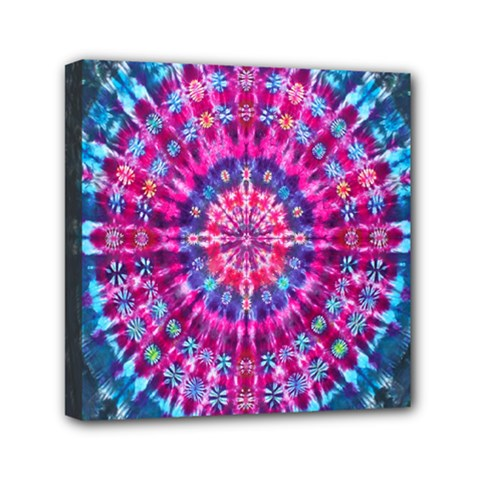 Red Blue Tie Dye Kaleidoscope Opaque Color Circle Mini Canvas 6  x 6