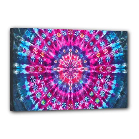 Red Blue Tie Dye Kaleidoscope Opaque Color Circle Canvas 18  x 12