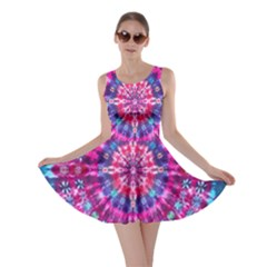 Red Blue Tie Dye Kaleidoscope Opaque Color Circle Skater Dress