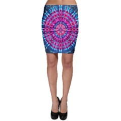 Red Blue Tie Dye Kaleidoscope Opaque Color Circle Bodycon Skirt