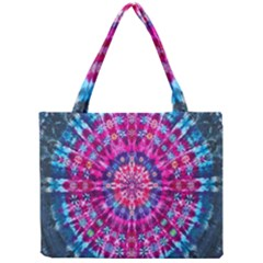 Red Blue Tie Dye Kaleidoscope Opaque Color Circle Mini Tote Bag