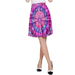 Red Blue Tie Dye Kaleidoscope Opaque Color Circle A-Line Skirt